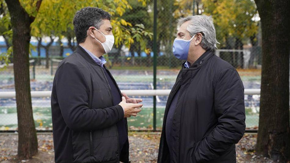 Archivo abril 2020. Jorge Macri junto a Alberto Fernández.