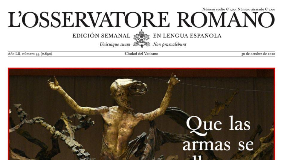 Portada del Osservatore Romano de esta semana.