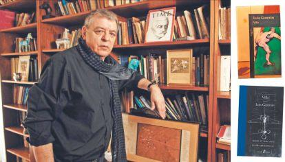 Gusmán. El escritor argentino en su casa, y a la derecha, la nueva y la primera edición.