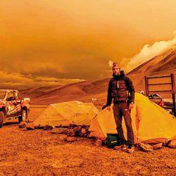 Atardecer en el campamento del Paso San Francisco a 4.760  msnm.