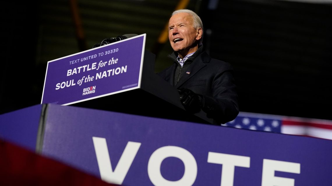 Democratic presidential candidate former vice-president Joe Biden speaks during a drive-in rally at Heinz Field, Monday, November 2, 2020, in Pittsburgh.