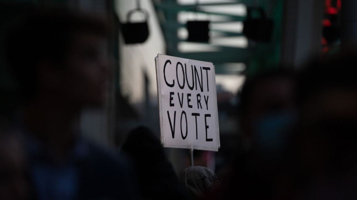 A demonstrator holds a sign calling for every vote to be counted in the US election.