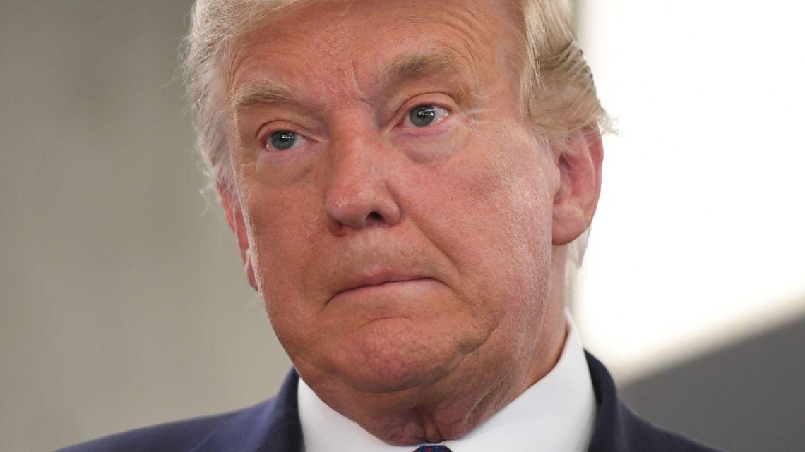 US President Donald Trump visits his campaign headquarters in Arlington, Virginia, November 3, 2020.
