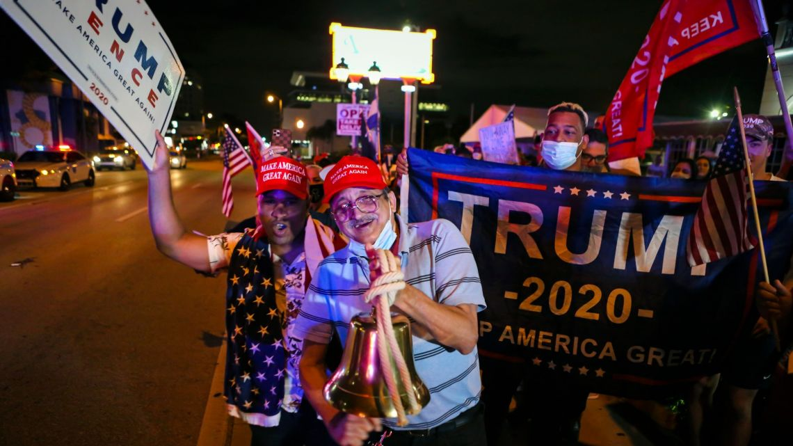 Supporters of US President Donald Trump rally in front of Cuban restaurant Versailles in Miami, Florida on early November 4, 2020.