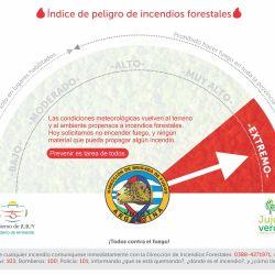 """La actual situación en materia de Peligrosidad de Incendios Forestales en Jujuy se categoriza con grado de """"Peligro Extremo."""