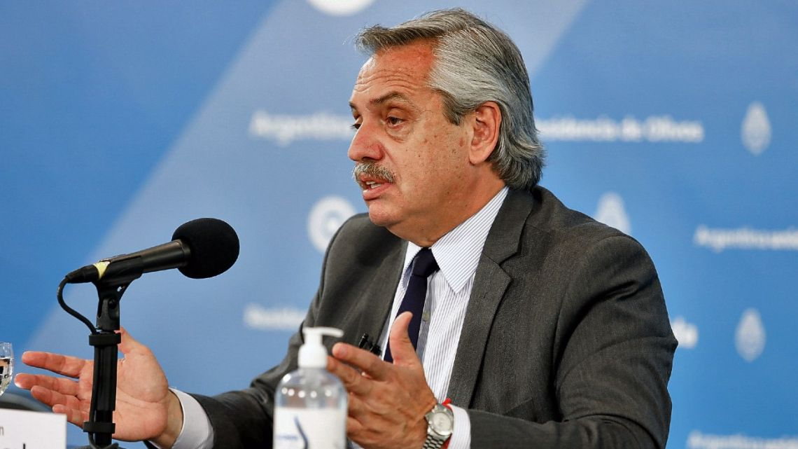 President Alberto Fernandez's announcing a new phase of social distancing at the presidential residence in Olivos, Buenos Aires Province, on November 6, 2020.