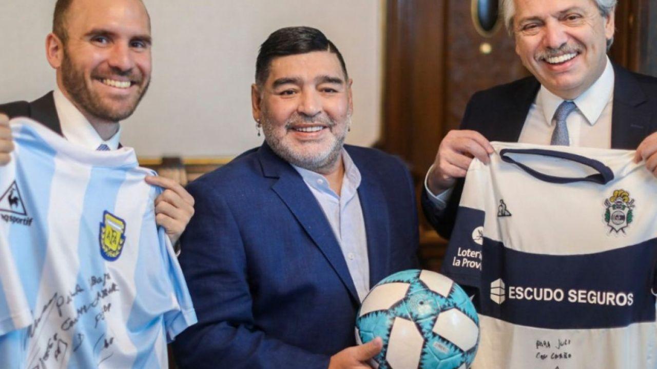 Martín Guzmán, Diego Maradona y Alberto Fernández | Foto:Cedoc