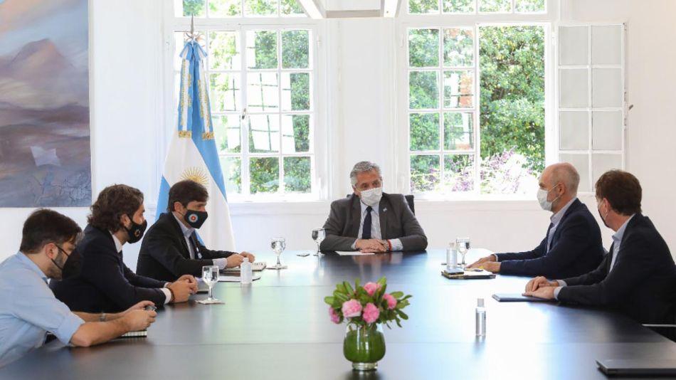 Reunión en Olivos del presidente. gobernador y Jefe de gobierno 20201106
