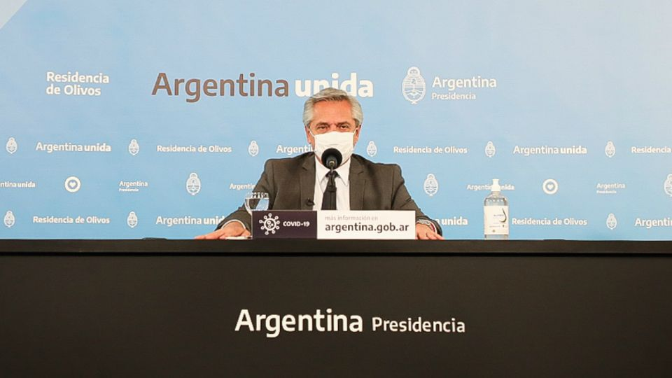 Alberto Fernández durante la conferencia de prensa.
