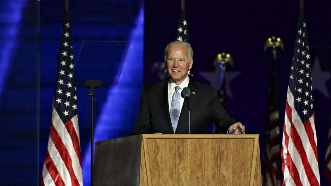 Democratic presidential candidate Joe Biden delivers a victory speech in Wilmington, Delaware, on November 7, 2020.