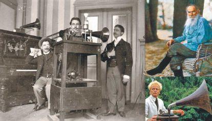 Intentos. Izq.: Fred Gaisberg y sus ayudantes. Der. arriba: León Tolstoi. y abajo.: Klaus Kinski encarnando a Brian Sweeney Fitzgerald, Fitzcarraldo.