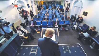 Protocolo. El presidente Trump no permitió hacer preguntas.