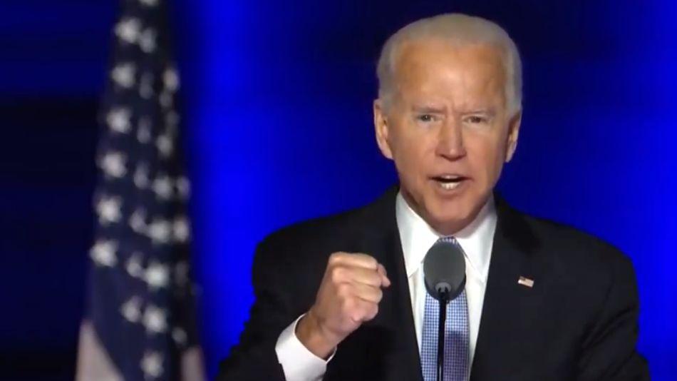 Joe Biden, hablando por primera vez como presidente de Estados Unidos.