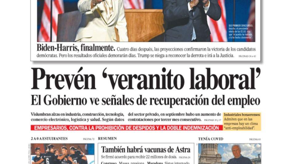 tapa Diario PERFIL domingo 8 de noviembre 2020