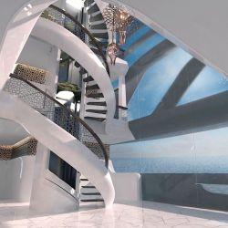 Cuenta con un atrio principal con escaleras para conectar las diferentes cubiertas.