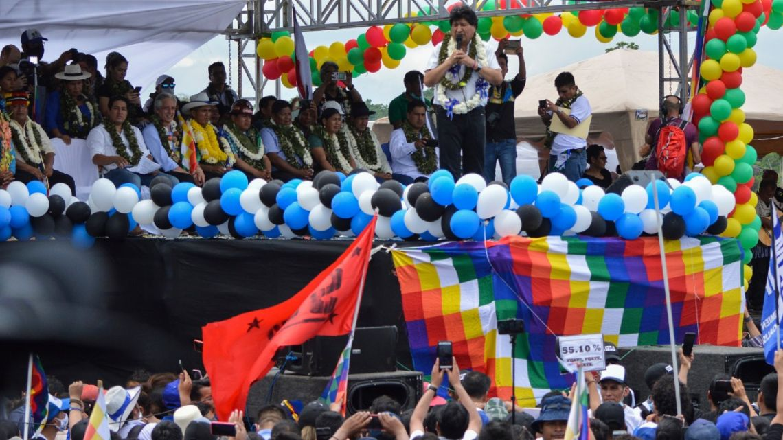 Former Bolivian president Evo Morales delivers a speech during a rally in Chimore, Chapare province, Cochabamba department, Bolivia, on November 11, 2020, after his return from exile.