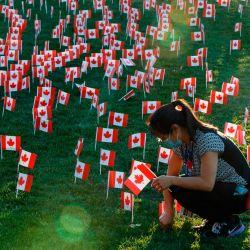 Un trabajador de la salud coloca banderas canadienses en miniatura fuera del Hospital Sunnybrook antes del Día del Recuerdo en Toronto, Ontario, Canadá.   Foto:Cole Burston / AFP