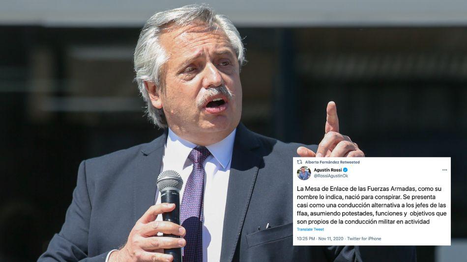 Alberto Fernandez retuiteó los mensajes de Agustín Rossi sobre la Mesa de Enlace militar-policial.