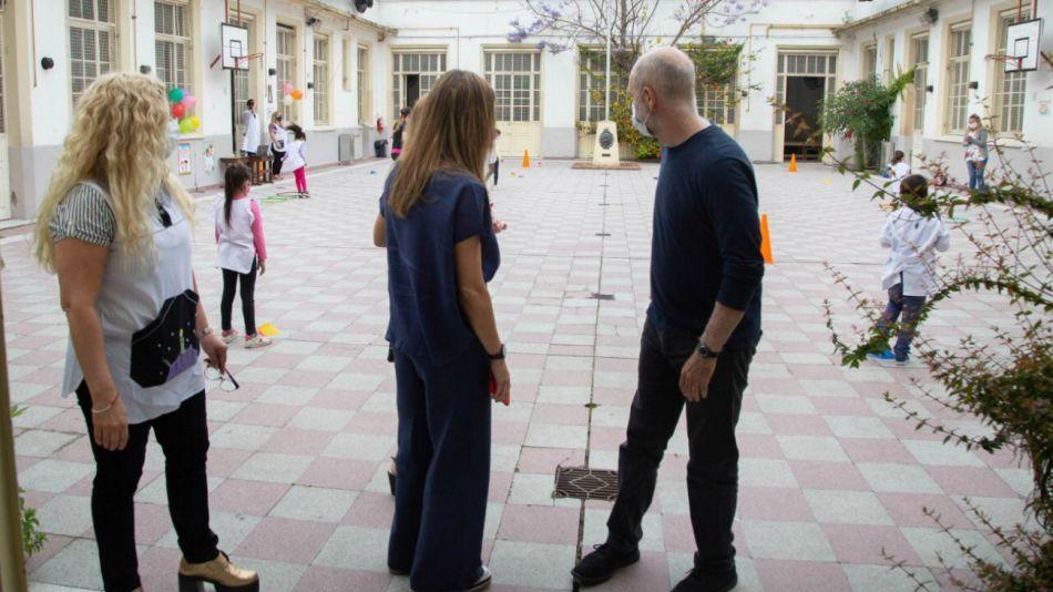 Horacio Rodríguez Larreta y la ministra Soledad Acuña en una reciente recorrida por escuelas.