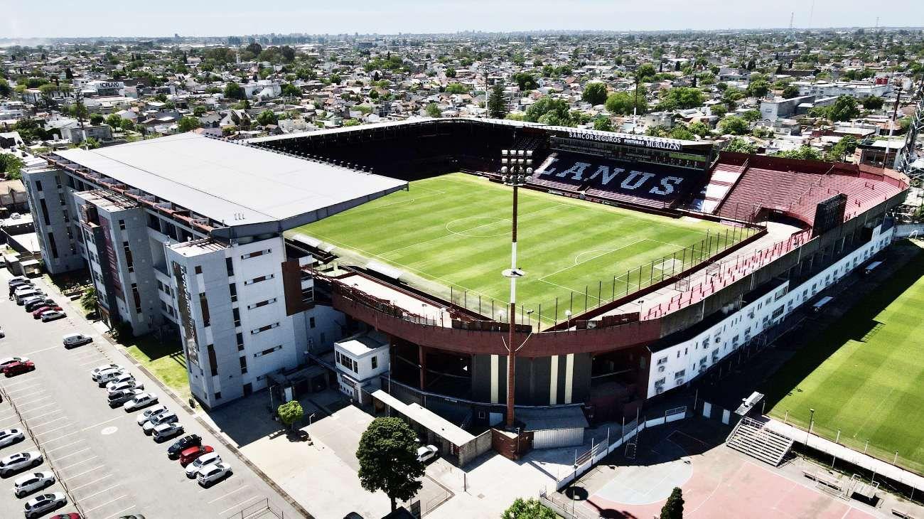 Así se ve el estadio de Lanús desde un dron.