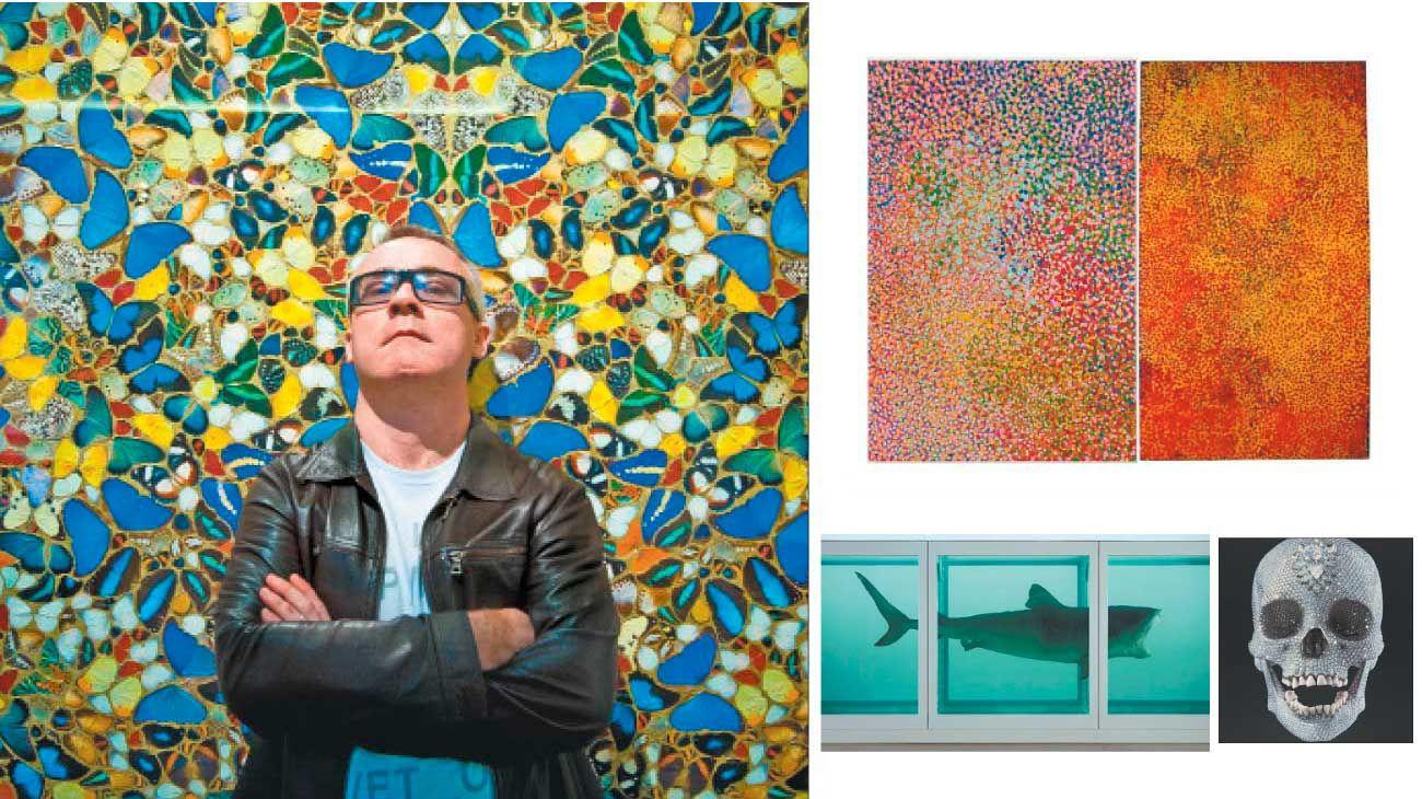 Hirst. A la izq., el artista. Al lado: una obra de Emily Kame Kngwarreye de 1991. Der. la de Damien Hirst, de 2018. Abajo: el tiburón y la calavera.