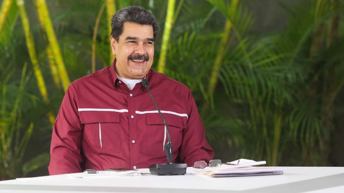 Handout photo released by the Venezuelan Presidency showing President Nicolás Maduro, during a televised announcement in Caracas, on November 8, 2020.