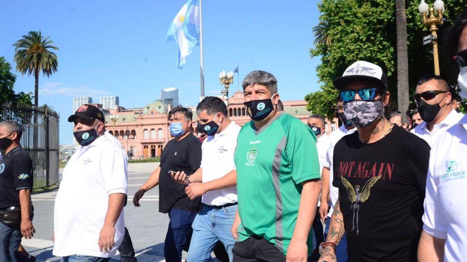 Pablo Moyano en Plaza de Mayo por el Día de la Militancia