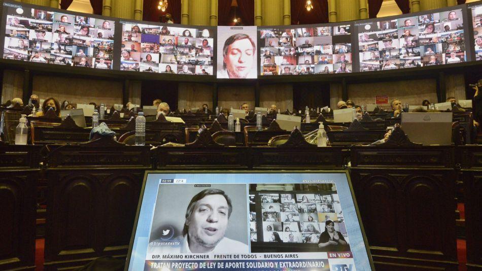 El diputado Maximo Kirchner, jefe del bloque oficialista del Frente de Todos