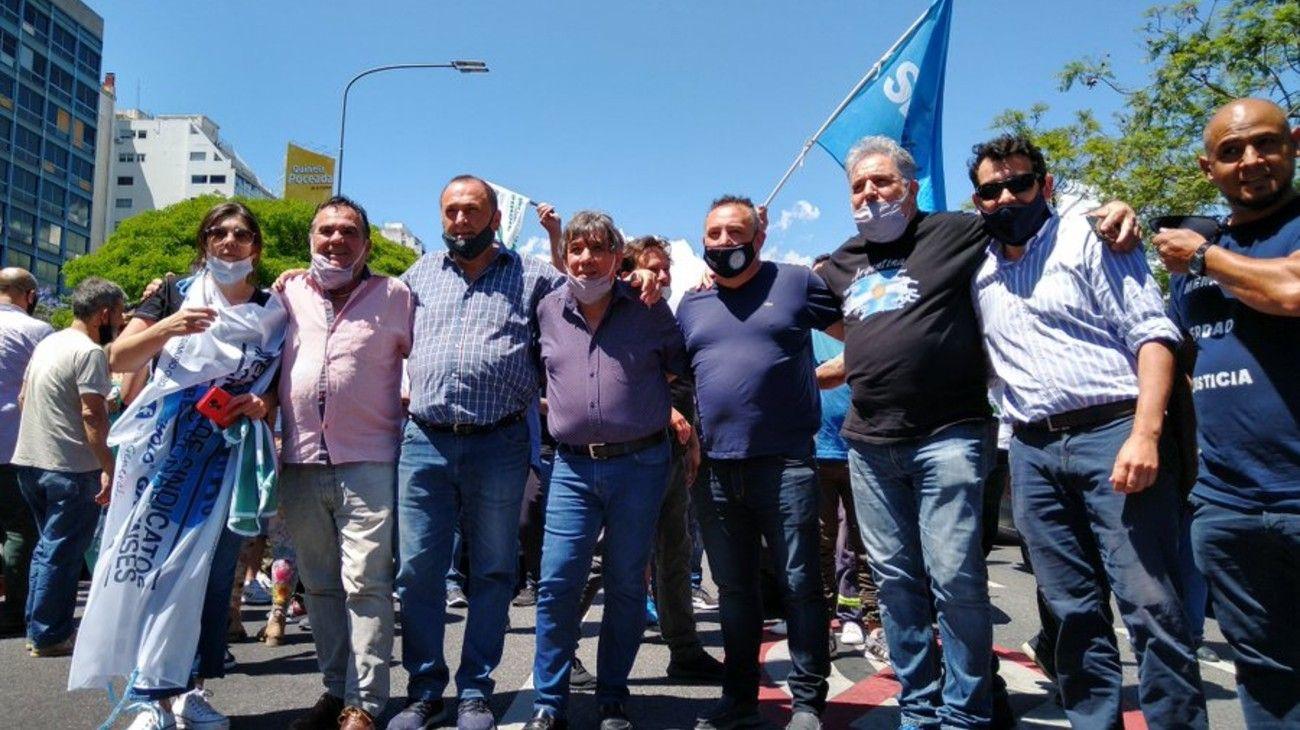 Protesta de empleados municipales bonaerenses.
