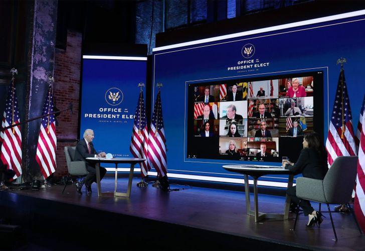 Joe Biden And Kamala Harris Hold Virtual Meeting With Nat'l Governors Association
