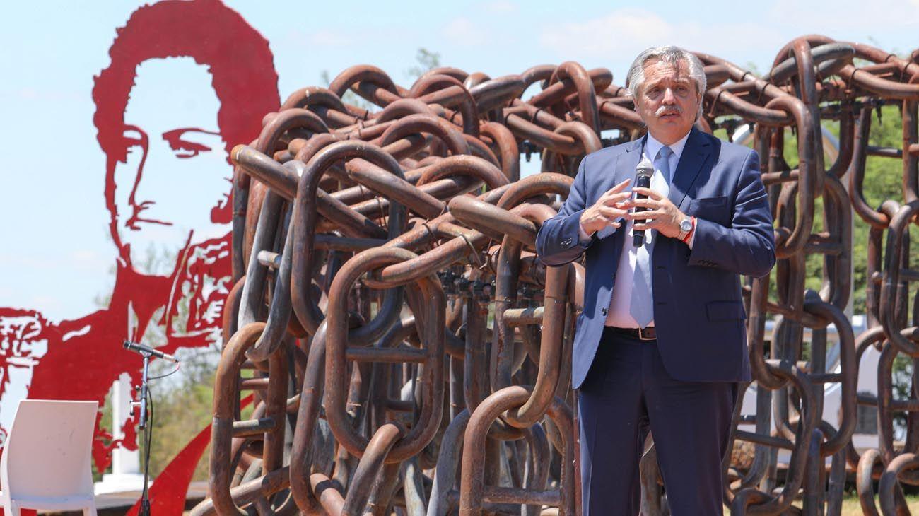 El presidente Alberto Fernández en el día de la Soberanía