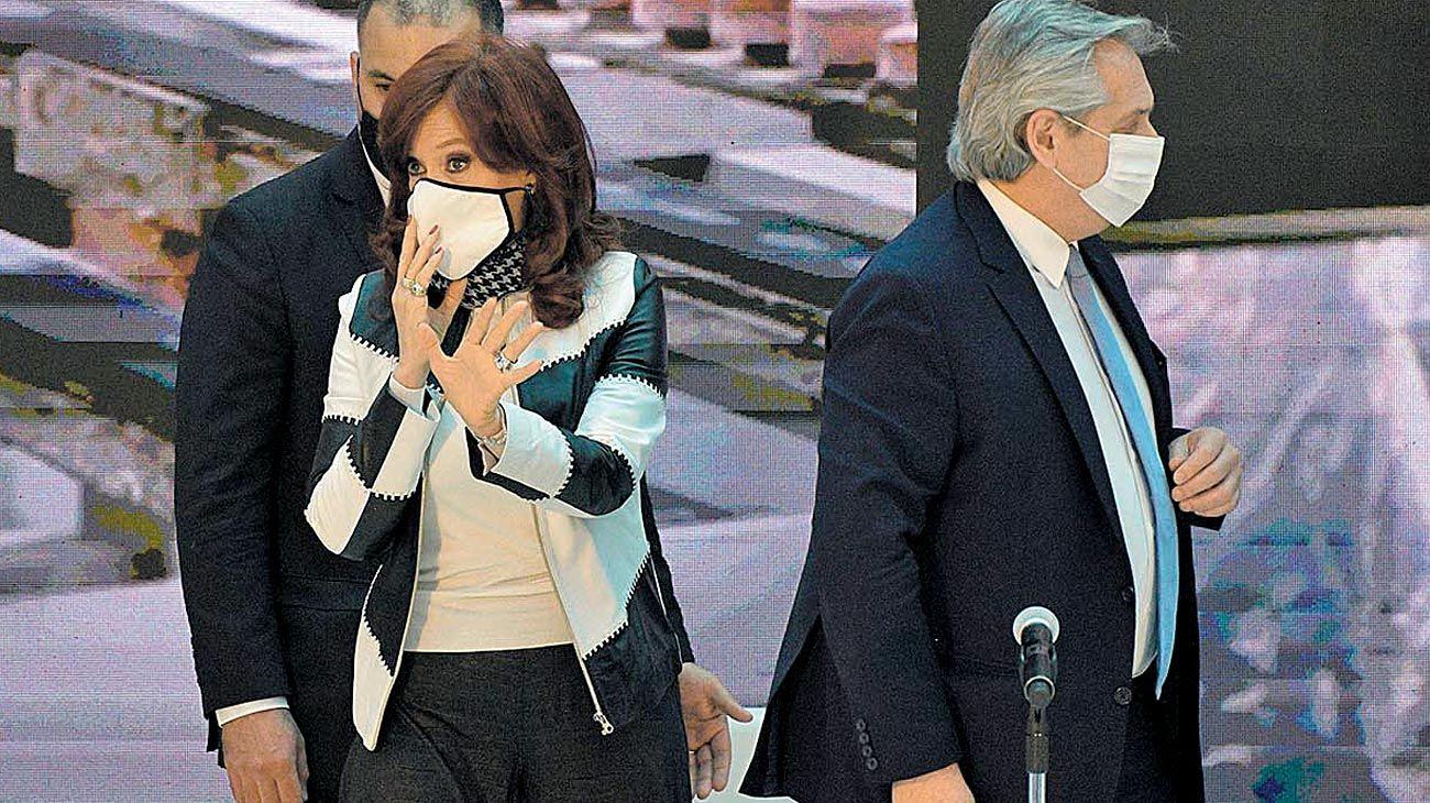 Dupla. Fernández y la vicepresidenta se mostraron juntos por última vez a fines de agosto.