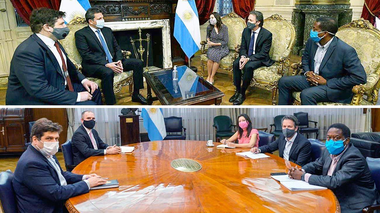Misión. Los representantes del Fondo con Chodos y Massa, Guzmán, Batakis y De Pedro. Un hisopado positivo disparó protocolos.