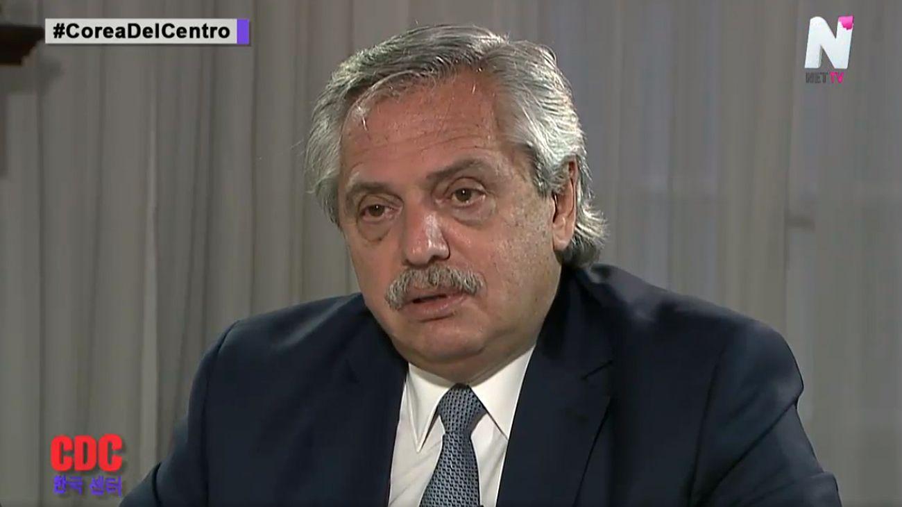 """El presidente Alberto Fernández en la entrevista con """"Corea del Centro"""""""