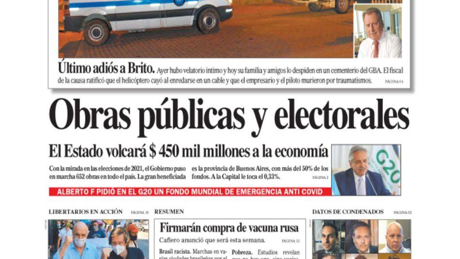 tapa Diario PERFIL domingo 22 de noviembre 2020