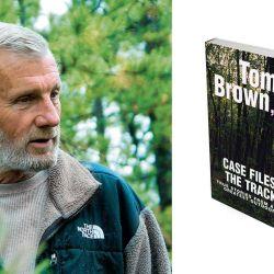 """Tom Brown hoy, con 70 años de edad, dirige su escuela de rastreo y supervivencia en la ciudad de Nueva Jersey y facsimil de la tapa  del libro """"Case Files  of the Tacker"""", donde se relatan las aventuras del rastreador."""