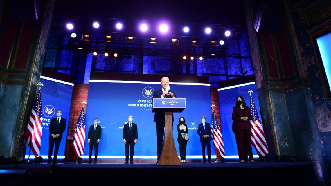 US President-elect Joe Biden (centre) introduces key foreign policy and national security nominees and appointments at the Queen Theatre on November 24, 2020 in Wilmington, Delaware.