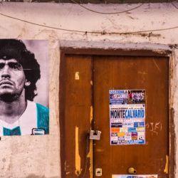 Maradona en las calles de Nápoles.