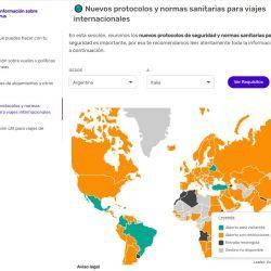 El mapa interactivo de Despegar ayuda a saber a qué países se puede ingresar y a cuáles no.