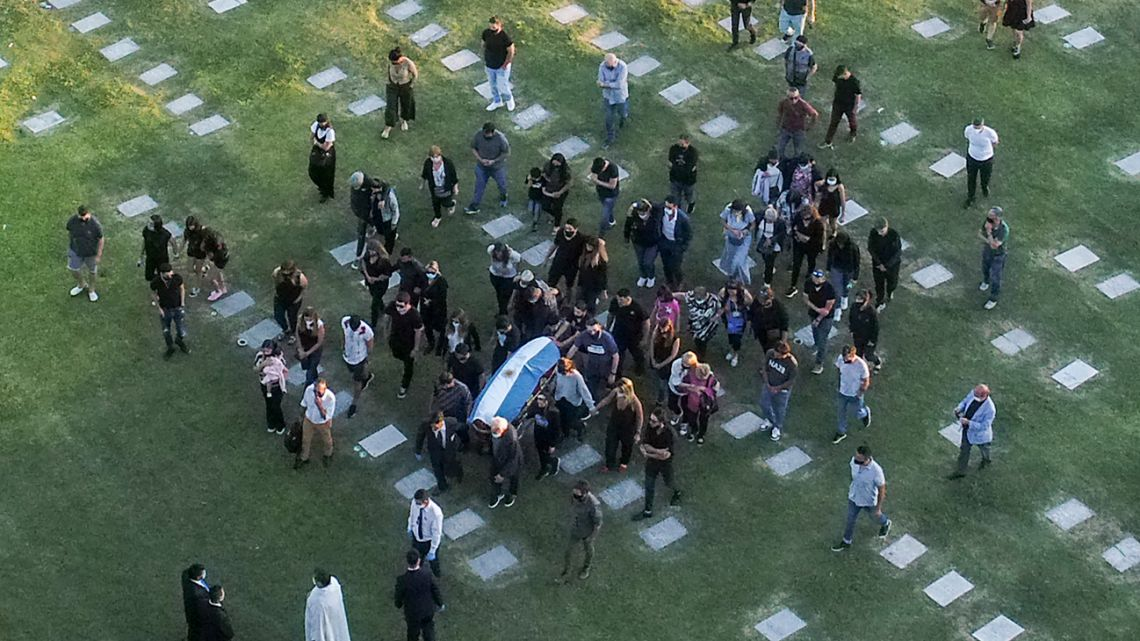 Aerial view of the burial of Armando Maradona at the Jardín Bella Vista cemetery, in Buenos Aires Province, on November 26, 2020.