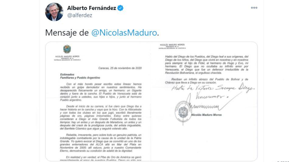 Carta de Nicolás Maduro