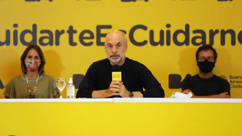Horacio Rodríguez Larreta durante el anuncio de la nueva DISPO.
