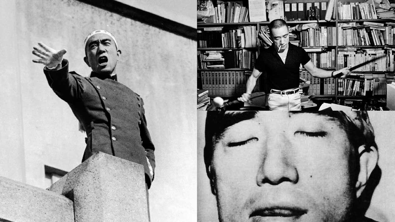 Mishima. El escritor japonés antes y después: en su despacho, manipulando una espada samurai, y durante la arenga en el cuartel general de Tokio del Comando Oriental de las Fuerzas de Autodefensa de Japón. En la última foto, su cabeza decapitada.