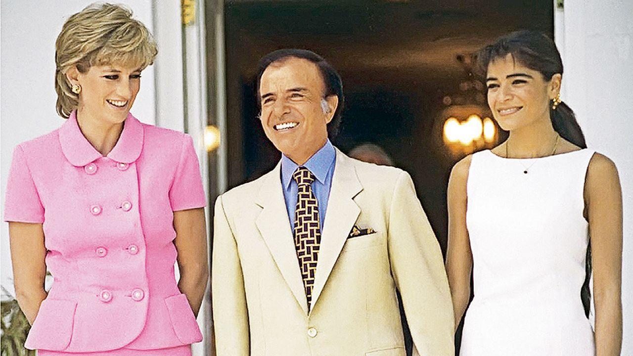Lady Di junto a Carlos y Zulemita Menem