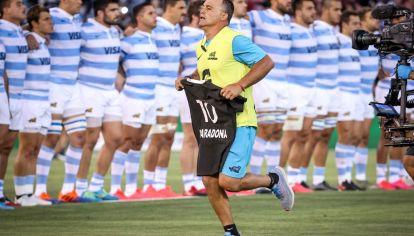Los All Blacks le rindieron homenaje a Diego Maradona antes de jugar contra Los Pumas. // AFP