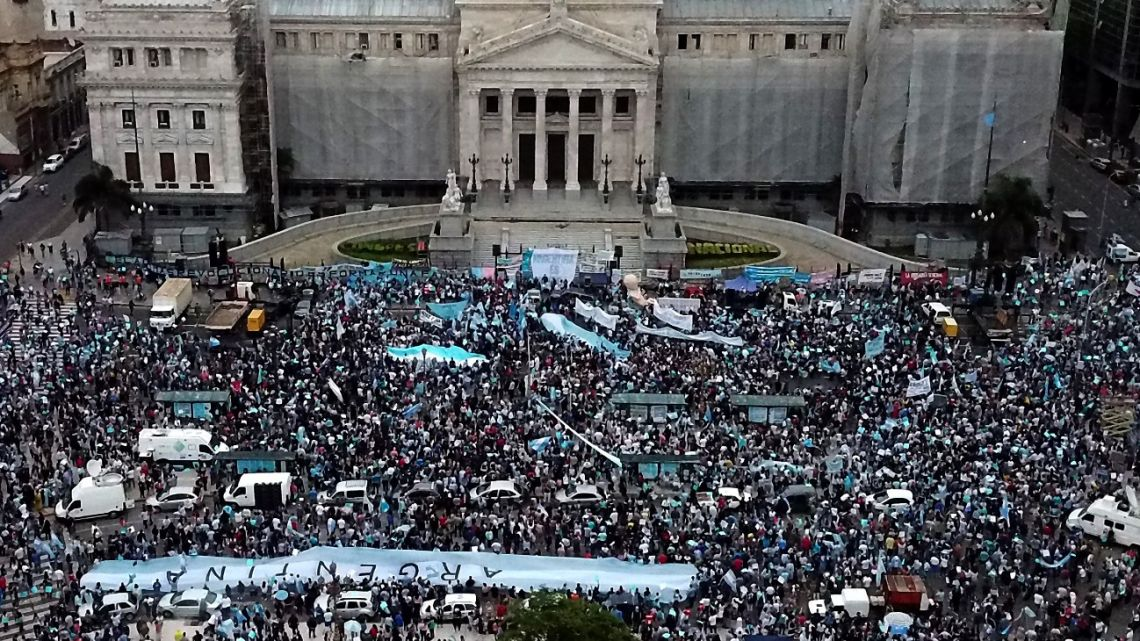 Aerial view of anti-abortion activists demonstrating against the bill to legalise abortion presented by President Alberto Fernández outside Congress on November 28, 2020.