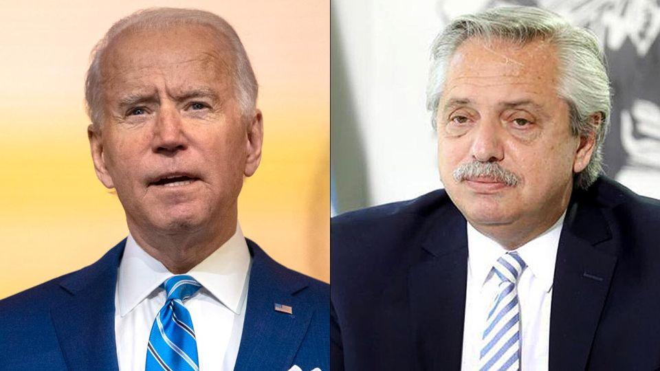 El presidente electo de Estados Unidos Joe Biden y Alberto Fernández presidente argentino