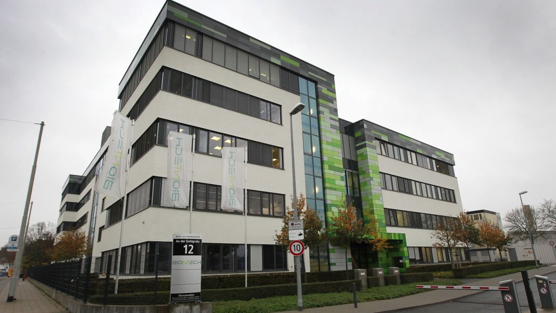 The headquarters of German company Biontech is pictured in Mainz, western Germany.