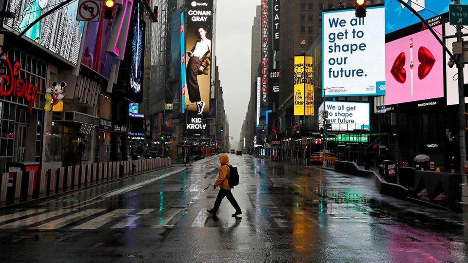 Las calles desoladas de Times Square en Nueva York