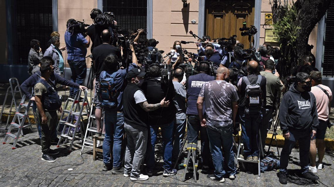 Mara Digiuni, lawyer of the surgeon of Argentine football legend Diego Maradona, Leopoldo Luque, talks to the media outside the district attorney's office in San Isidro, on the outskirts of Buenos Aires, on November 30, 2020.